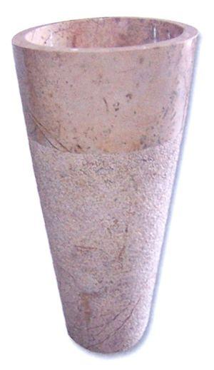 Vasque colonne conique bouchardée Indonésie rose