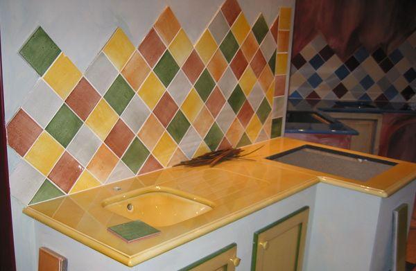 Faience Cuisine Jaune : Carrelage mural cuisine jaune